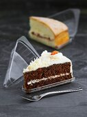 Pieces of cake in plastic packaging to take away