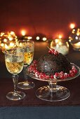 Christmas pudding with dessert wine