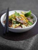 Oriental style Peking duck with coleslaw