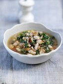 Hearty soup with cannellini beans and red cabbage