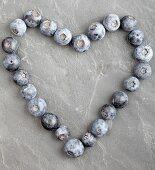 Blueberries in a heart shape