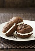 Chocolate Whoopie Pies with vanilla cream cheese and chocolate sprinkles