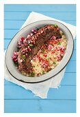Moroccan beef fillet with pomegranate seeds and chilli couscous
