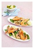 Lime and coriander prawns on mange tout