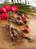 Pancetta and rosemary kebabs and strawberry kebabs