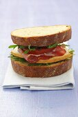 Smoked cheese, ham and rocket sandwich on wholemeal bread