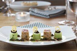 Bavarian sushi with tuna, napkin dumplings and cucumber