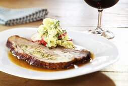 Stuffed veal breast with a potato and radish salad