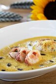 Caramelised pumpkin soup with lobster