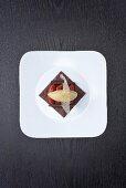 Praline tart with preserved grapefruit and caramel ice cream