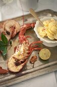 Lobster with a chilli-potato salad