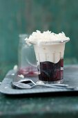 White chocolate mousse with cherries