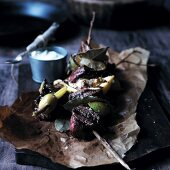 Grilled beef and lime kebabs