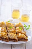 Baklava (puff pastry cakes with pistachio and honey, The Balkans, Near East)