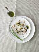 Weisswurst carpaccio with parsley-mustard pesto