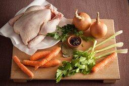 Ingredients for chicken soup and chicken broth