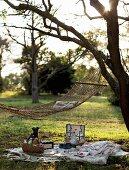 Picknickdecke und eine Hängematte