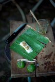 Grilling marinated halibut wrapped in banana leaves