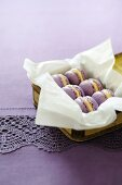 Violet macaroons with white chocolate cream