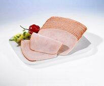 Smoked, sliced turkey ham with pepper