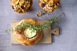 Potato bread with rosemary oil and sweet potato muffins