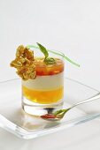 Elderflower mousse with strawberries and oranges