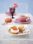 Scones with clotted cream and grapefruit marmalade for English tea