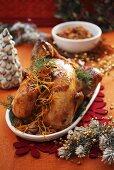 Roast turkey with chestnut stuffing for Christmas dinner