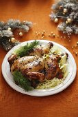 Roast chicken with fennel for Christmas dinner