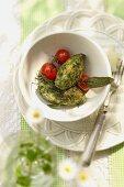 Gnocchi agli spinaci (spinach gnocchi with cherry tomatoes)