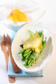 Green beans topped with cheese