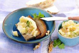 Celery spread with walnuts on bread