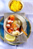 A celeriac and carrot medley with lemon sauce