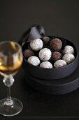 Chocolate truffles in box