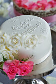 Wedding cakes with marzipan roses