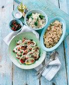 Mozzarella salad, rice salad with broccoli and bean paste