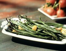 Roasted Green Beans with Garlic; Radishes