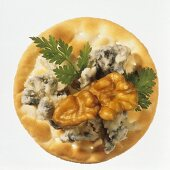 Cracker with Blue Cheese and Walnut
