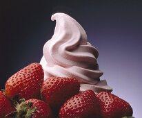 Soft serve strawberry ice cream