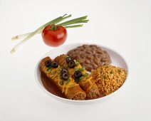 Beef Enchiladas with Rice and Beans