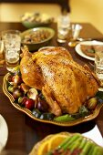 Roast Turkey on Platter with Figs, On Thanksgiving Table