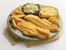 Breaded Fish and Chips with Coleslaw and Garlic Toast