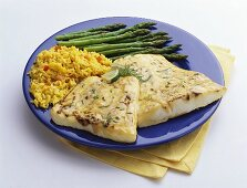 Tilapia with Yellow Rice and Asparagus