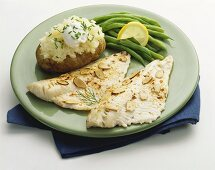 Halibut Fillets with Almonds, Green Beans and Baked Potato