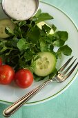 Small Watercress Salad with Ranch Dressing on the Side