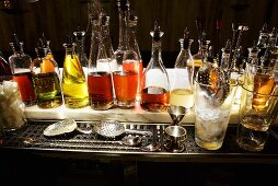 Bar Station with Assorted Bottles of Liquor