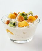 Bowl of Cottage Cheese with Mango and Kiwi