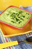 Small Bowl of Chilled Avocado Soup; Spoon
