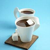 Two Mugs of Dark Chocolate Hot Chocolate with Marshmallows
