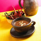 Mug Aztec Hot Chocolate; Hot Chocolate with Chili Peppers and Almonds